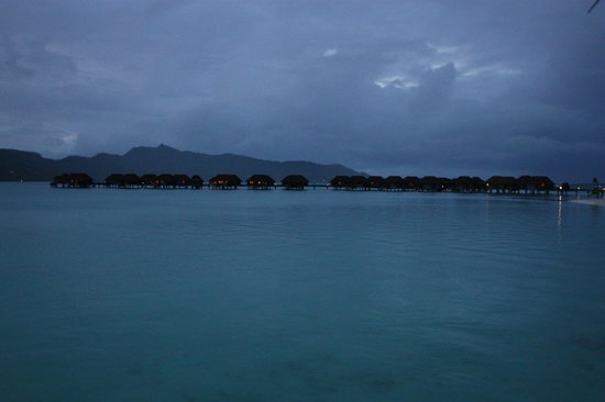 Four Seasons Resort Bora Bora:                                     Villas at dusk
