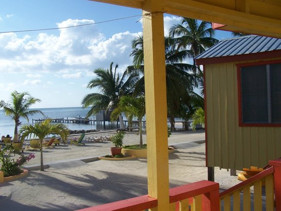 Tropical Paradise Hotel:                   View from our porch to the beach area