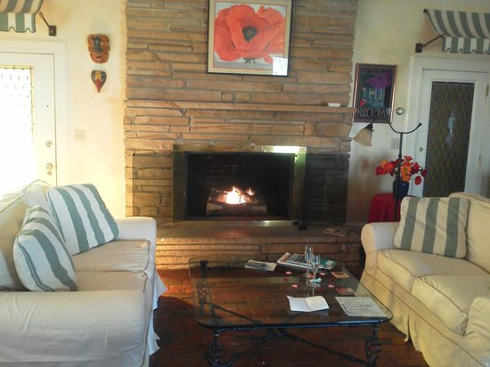 Big Mill Bed and Breakfast:                   The fireplace seating area
