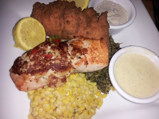 Salmon duo one stuffed with crabmeat one fried picture for Fish thyme acworth