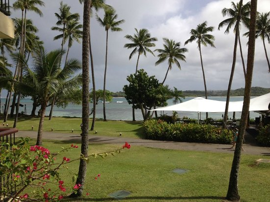 Shangri-La's Fijian Resort & Spa:                   this was the view from our balcony stormy day but still warm and that is on eo