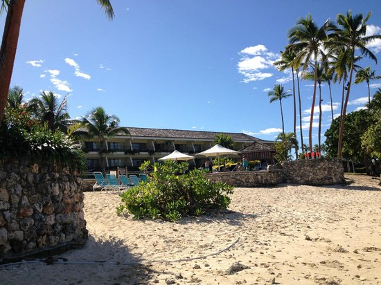 Shangri-La's Fijian Resort & Spa:                   my view sitting on a deck chair on the beach looking up at the adults only are
