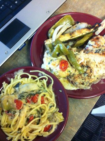 Homewood Suites by Hilton Austin-Arboretum / NW :                   California Chicken with grilled veggies in the Lodge. Claire makes 5 star food