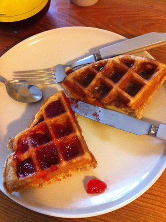 Tofino Travellers Guesthouse :                   Nick's infamous waffles, hot off the press!