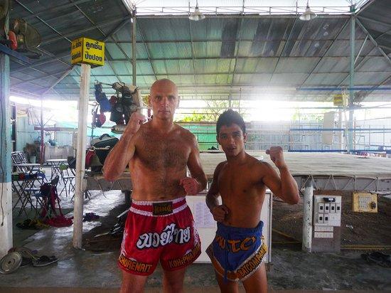 Phangan Muay Thai and Fitness Gym :                   Mr Mot Dang and myself, 10 am, Chorenrit Muay Thai Camp, Koh Phangan