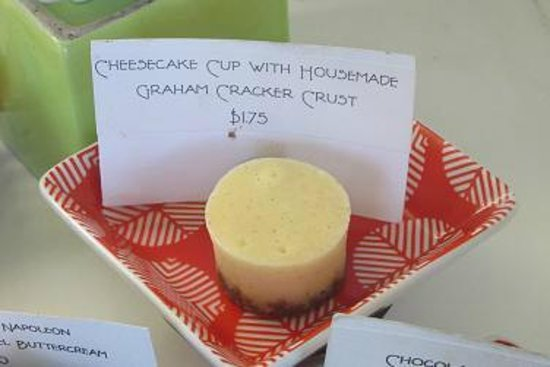 Platine Bakery:                   Cheesecake cup with housemade graham cracker crust.