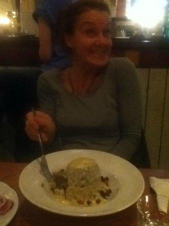 The 78:                   Mum enjoying the vegan haggis!