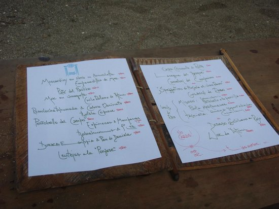 Playa de los Artistas :                   Hand Written Menu, Changes each & Everyday......