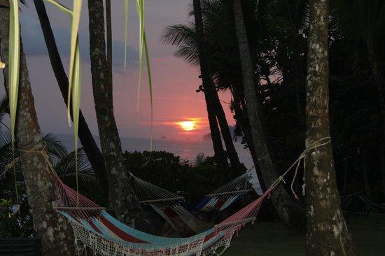 La Leona Eco Lodge:                   sunset with hammocks