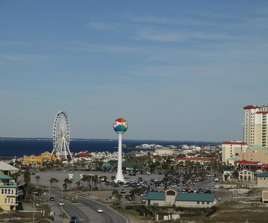 Margaritaville Beach Hotel:                                     View of Ferriswheel from deck of room 700