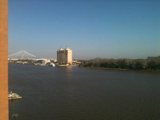 Savannah Marriott Riverfront:                   Looking Toward The Bridge Up The Savannah River