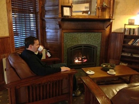 Mohonk Mountain House:                   Tea and reading by the fireplace