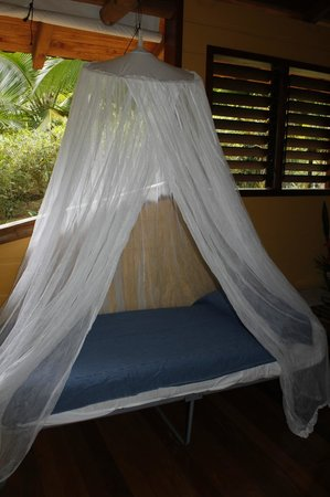 Bosque del Cabo Rainforest Lodge:                   cot in almendra