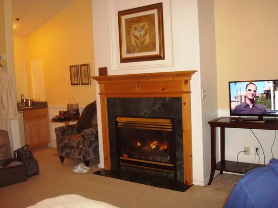 Leavenworth Village Inn:                   cozy room, with fridge,fireplace,coffe pot, jetted tub and hair dryer, and iro