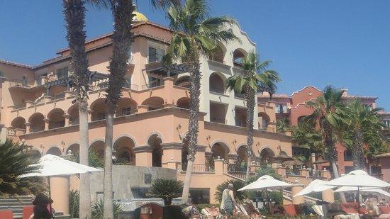 Sheraton Grand Los Cabos Hacienda del Mar:                   looking back at resort from main pool