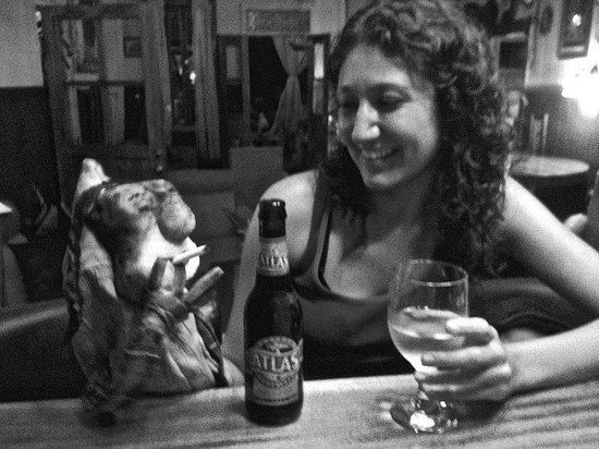 The Bocas Wine Bar: server daniela chats with puppet
