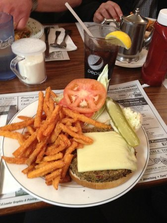 Dimitri's Diner Family Restaurant:                                     Garden Veggie Cheese Burger with Sweet Potato Fries