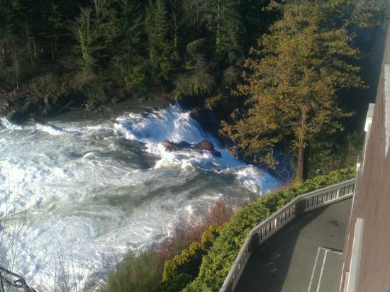 Salish Lodge & Spa:                   View of the river and upper part of the falls from our room