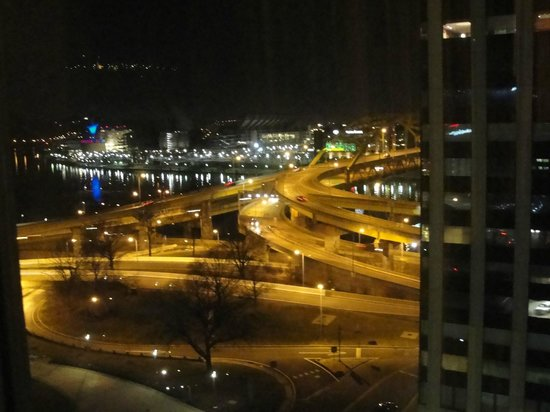 Wyndham Grand Pittsburgh Downtown:                   View from 12th floor in another room at nite