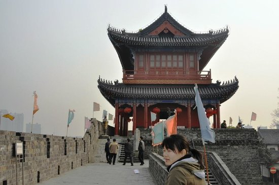 Jingzhou Historical and Cultural City Area :                   View Of East Gate Watch Towere From The Top Of THe Wall