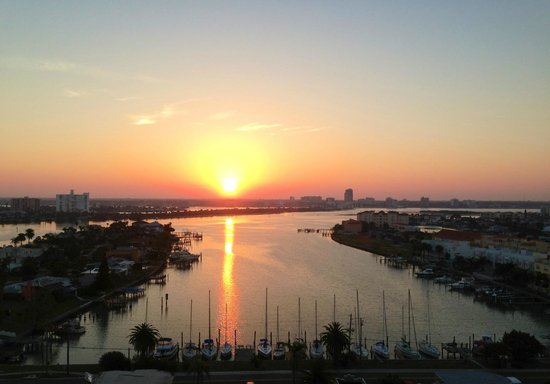 Hyatt Regency Clearwater Beach Resort & Spa:                   Sunrise on the bay as seen from our balcony.