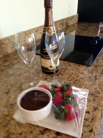Hyatt Regency Clearwater Beach Resort & Spa:                   Complimentary champagne, strawberries and chocolate -- so sweet!