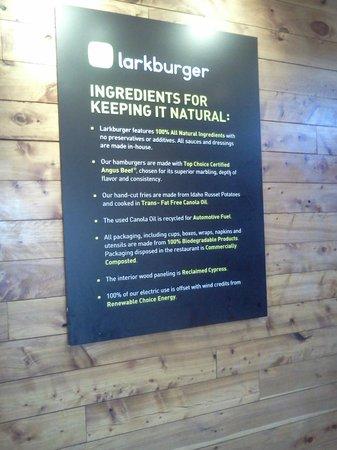 Larkburger: Natural Ingredient Sign