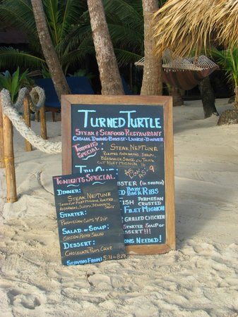Little Corn Beach and Bungalow:                   Great Menu