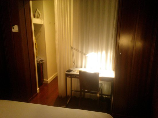 Hudson Hotel New York:                   room facing desk and peakaboo shower