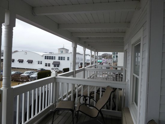 Union Bluff Hotel: View across the second floor front porches, looking west.