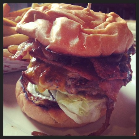 Brave Horse Tavern:                   Chuck Burger w/cheddar, carmelized onions and bacon