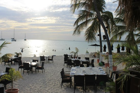 Barefoot Restaurant Beach At With Tables In The Sand