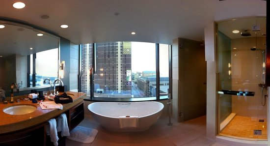 Four Seasons Hotel Denver:                   Wonderfully large bathroom with floor to cieling windows