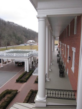 Omni Bedford Springs Resort :                   View from the porch to the front entrance