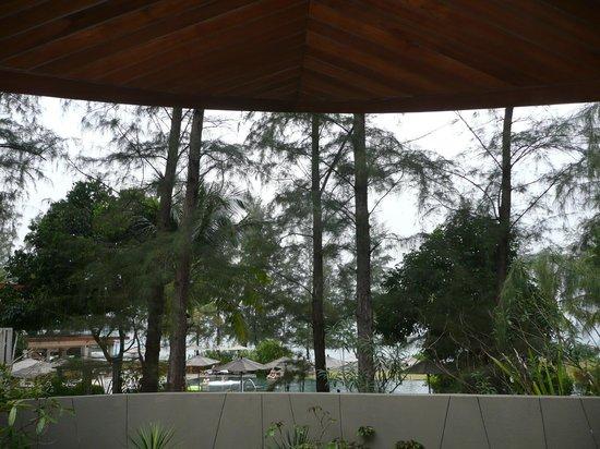 Renaissance Phuket Resort & Spa:                   Blick über die Mauer auf den Poolbereich