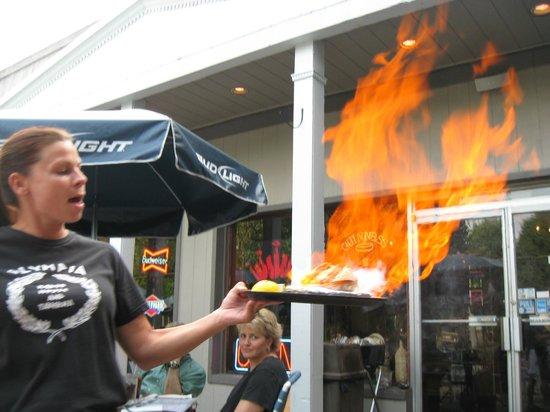 "Olympia Kebob House & Taverna:                   ""Opaa!""  Saganaki fire cheese"
