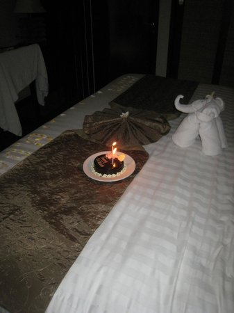 Kuta Seaview Boutique Resort & Spa:                   Special birthday celebration - check out elephant made of towels