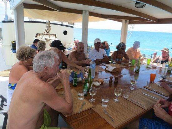 Passaat Classic Schooner:                   Luncheon served to a happy group.