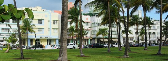 Crescent Resort On South Beach:                   A view towards the hotel across the park and Ocean Drive.