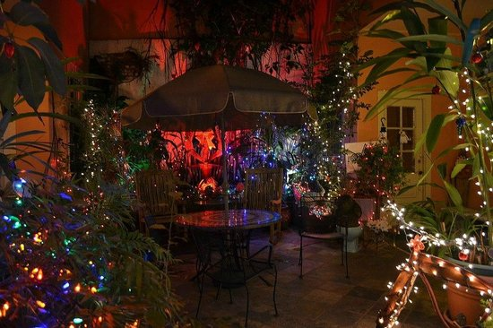 The Saint Philip Hotel:                   Holiday Courtyard at night