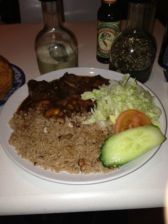Jerk city: oxtail with rice and peas