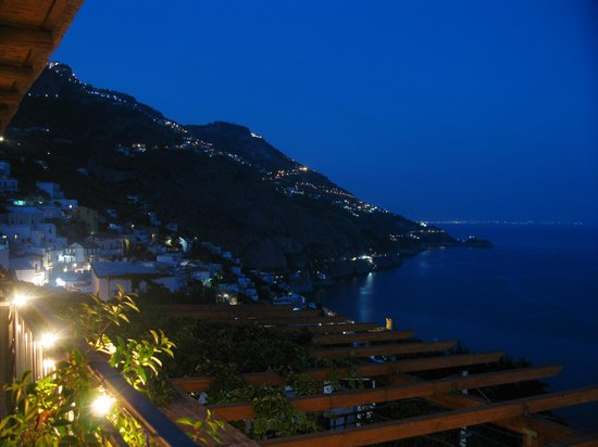 Hotel Margherita:                   The view from the hotel's restaurant at night.