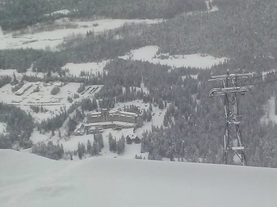 View of the Hotel Alyeska fron top of mountain