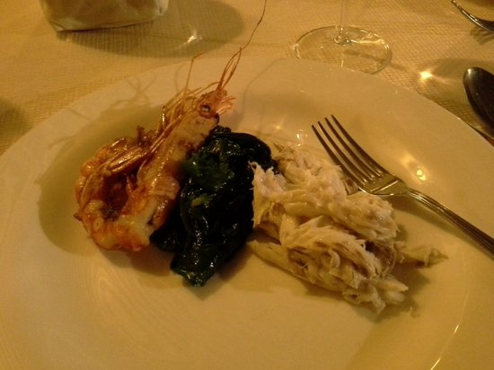 Ristorante The View:                   sea bass with king prawns and spinach