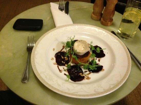 Washingborough Hall Country House Hotel :                   Starter of butternut squash, goats cheese and beetroot shavings