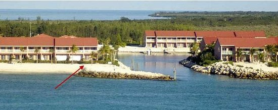Bimini Sands Resort and Marina:                   This is a view of our condo -- see the red arrow.
