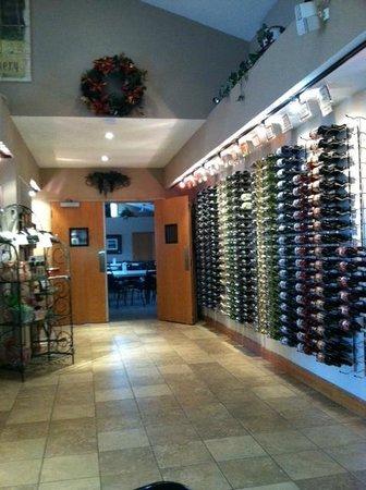 Pawnee City, NE:                   Bottle Rack in Tasting Room Looking Into Party Room