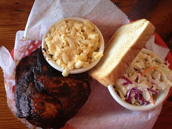 The Joint:                   chicken plate w/ mac & cheese and coleslaw