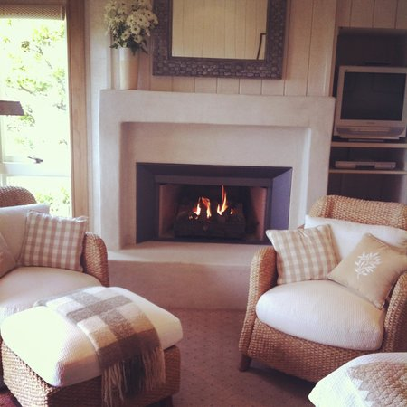 The Lodge at Kauri Cliffs:                                                                         The fire place in our ro