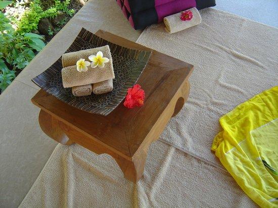 The Raja Singha Luxury Villas Resort:                                                       Waiting for the massage